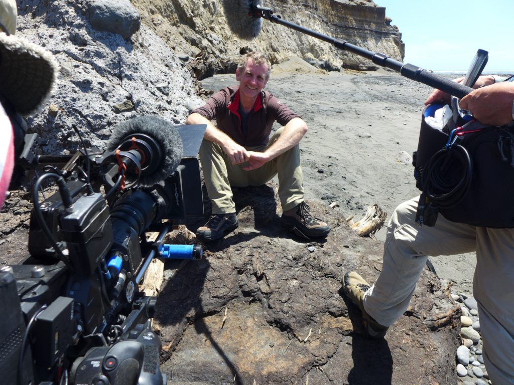Julian being filmed for 'Beneath New Zealand' doco