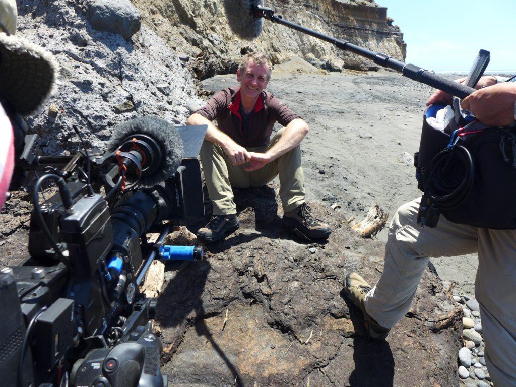 Julian being filmed for 'Beneath New Zealand' doco
