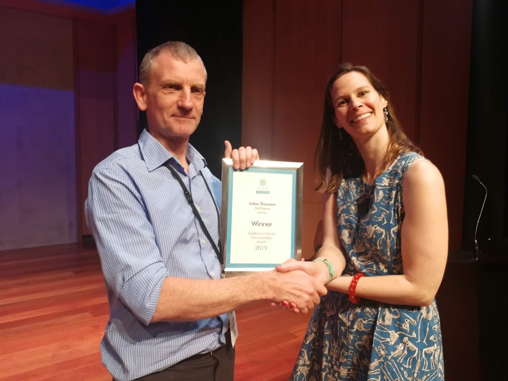 Receiving theSCANZ science communication prize for 2019