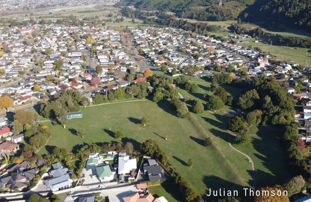 The Wellington Fault trace seen from above California Park, Upper Hutt