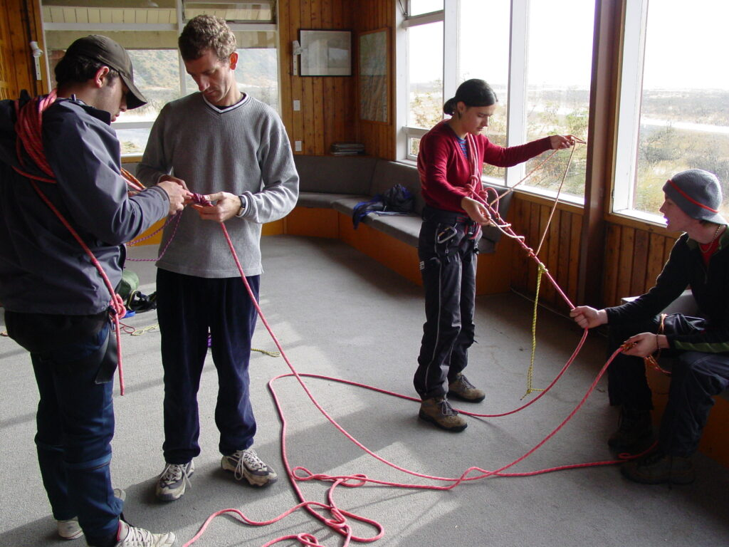 Training for glacier travel at Unwin Hut, Mt Cook