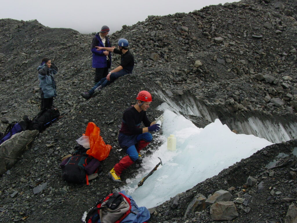 Collecting ice samples for dating on the lower Tasman Glacier