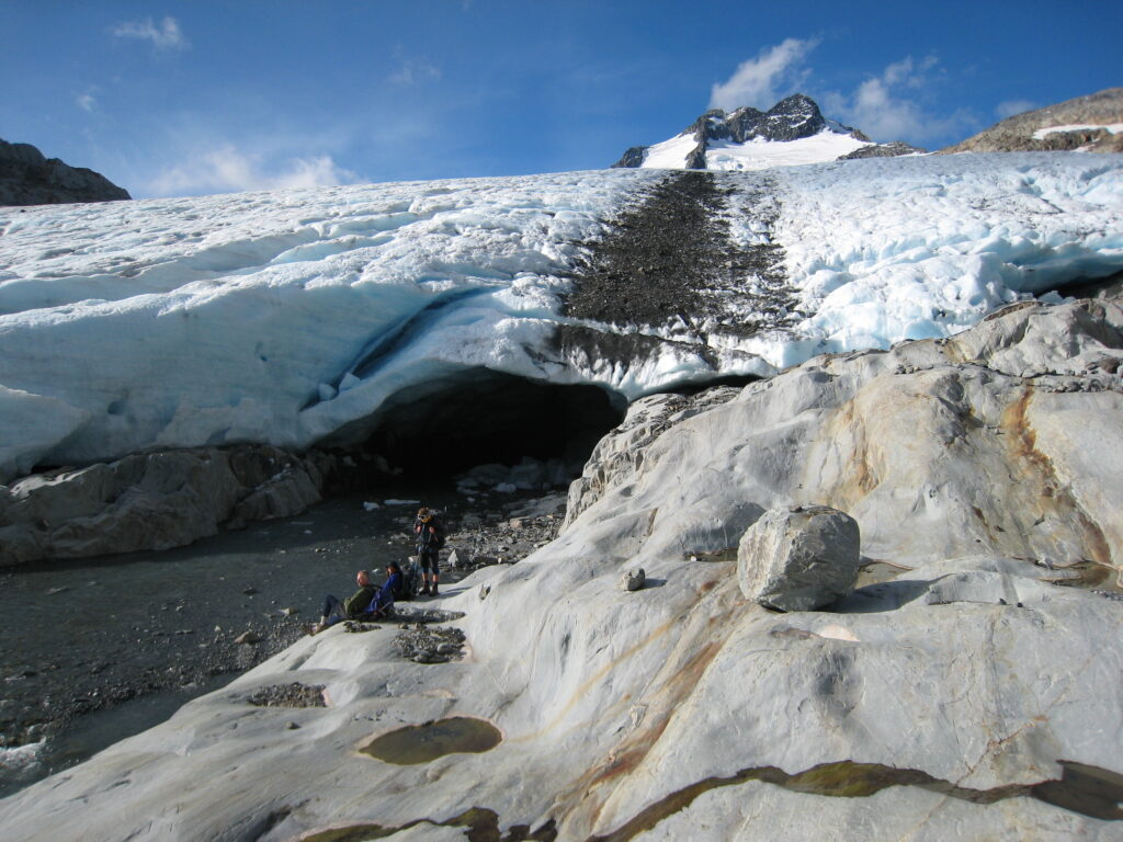 Brewster Glacier terminal face and ice cave