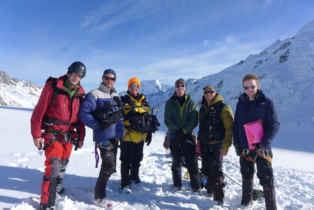 Beneath New Zealand Film Team on the Tasman Glacier