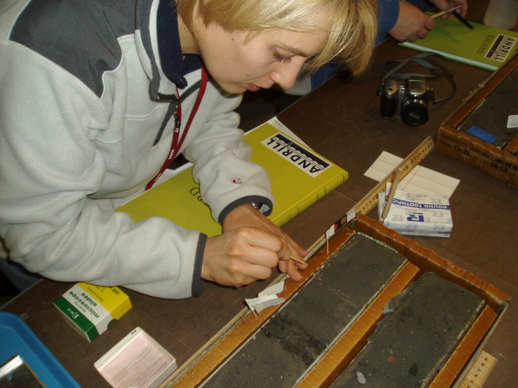 Collecting diatom samples from the sediment core